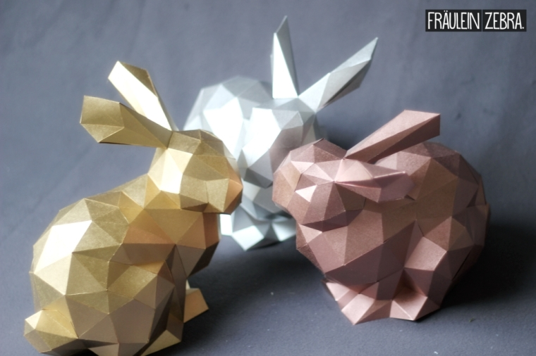 diy 3d origami hase osterhasen bausatz fr ulein zebra. Black Bedroom Furniture Sets. Home Design Ideas